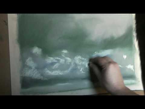 Dibujo y pintura. Nubes al pastel 1/3