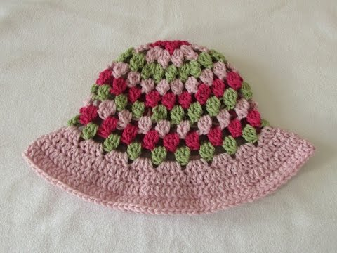 How to crochet a pretty baby / children's sun hat - summer hat tutorial