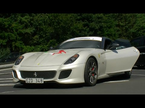 White Ferrari 599 GTO Revs + Accelerate sounds!! 1080p HD