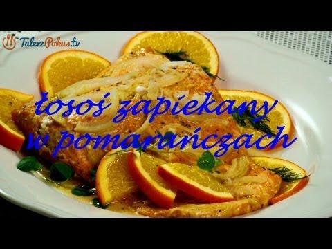 Łosoś zapiekany w pomarańczach