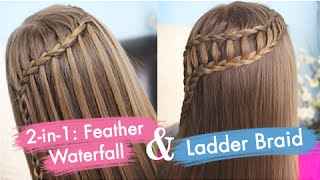 getlinkyoutube.com-Feather Waterfall & Ladder Braid Combo | Cute 2-in-1 Hairstyles
