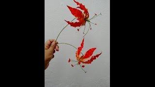 getlinkyoutube.com-Paper flowers - Gloriosa Lily (Flower # 51)