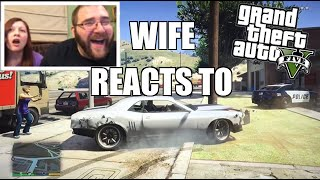 getlinkyoutube.com-WIFE REACTS TO GTA 5 FUNNY MOMENTS and Brutal Kills! Hilarious PS4 Gameplay