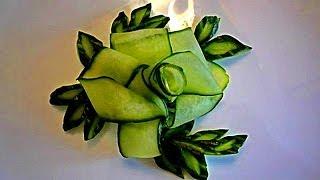 getlinkyoutube.com-Цветок и лепестки из огурца. Украшения из овощей. Decoration Of Vegetables. Decoration Of Cucumber