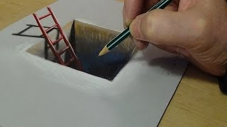 3D Drawing for Kids - How to Draw Red Ladder in the Hole - Trick Art on Paper