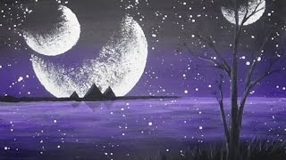 getlinkyoutube.com-Acrylic Painting Mystical Moons Alien Planet #CACFantasyArt