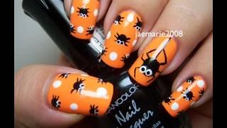 Halloween Nail Design- Polka Dot Spiders