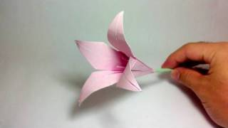 getlinkyoutube.com-Origami Flower - Lily (100th video!)