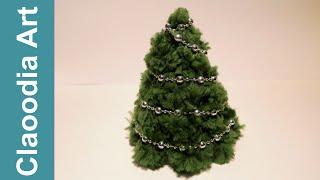 getlinkyoutube.com-Choinka z pomponów na stożku (Christmas tree with pompoms, DIY)