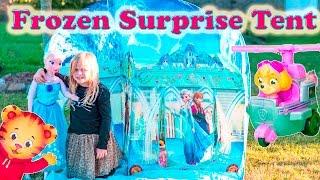 getlinkyoutube.com-FROZEN Disney Frozen Surprise Tent + Paw Patrol + Elsa + Daniel Tiger Surprise Toys Eggs  Video