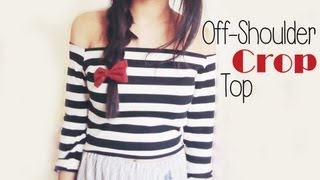 getlinkyoutube.com-DIY ✂ Off shoulder Stripey Crop Top