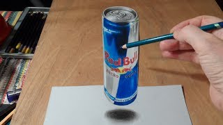 3D Drawing Levitating Red Bull Can - Fine Art