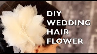 getlinkyoutube.com-How To Make A Wedding Hair Flower Using Organza & Tulle