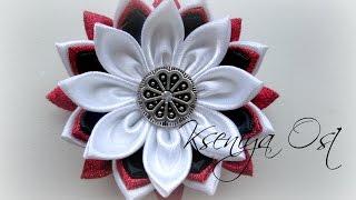 getlinkyoutube.com-Как сделать многослойный цветок канзаши своими руками. Украшение на шапочку.