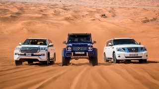 DRAG RACE | Mercedes-Benz G500 4×4² Vs. Toyota Land Cruiser Vs. Nissan Patrol