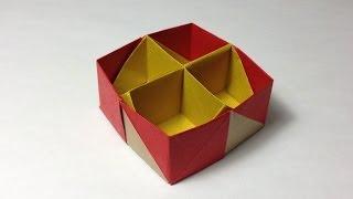 getlinkyoutube.com-【折り紙(おりがみ)】 十字仕切り付き小箱の折り方 作り方