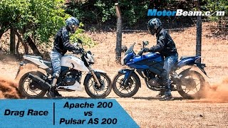getlinkyoutube.com-TVS Apache 200 vs Pulsar AS 200 - Drag Race | MotorBeam
