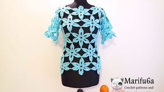 getlinkyoutube.com-how to crochet flower tunic top sweater free pattern tutorial