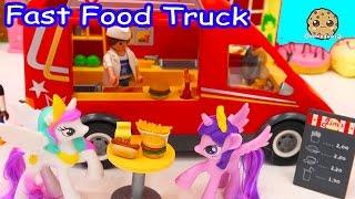getlinkyoutube.com-Playmobil Fast Food Truck Car with Burgers, Fries, Hotdogs with My Little Pony Toys - Cookieswirlc