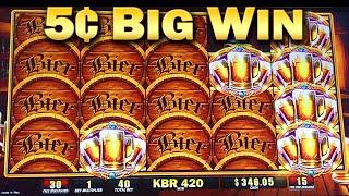 getlinkyoutube.com-Bier Haus 200 5¢ Slot Machine Bonus 45 Free Games Big WIn Nickels Slots
