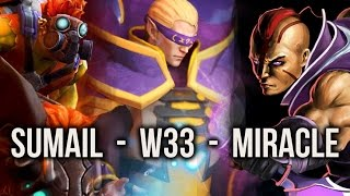 getlinkyoutube.com-w33, Miracle-, SumaiL crazy 8000 MMR FIGHT - Dota 2