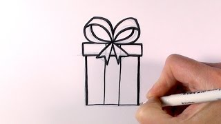 How to Draw a Cartoon Christmas Present