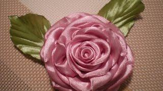 getlinkyoutube.com-Роза из атласных лент  Канзаши / Своими руками. Видео./Rose ribbons