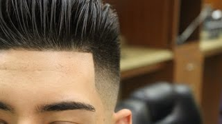 getlinkyoutube.com-Slicked Back Pompadour with Bald Fade; pomp; scissor haircut; razor fade