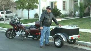 getlinkyoutube.com-Aluminium motorcycle cargo trailer pulled by a motorcycle