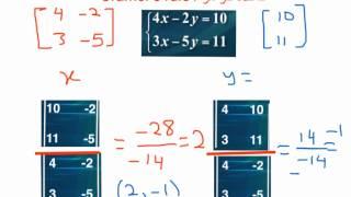 قاعدة كرامر لحل أنظمة المعادلات