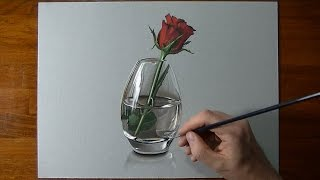 getlinkyoutube.com-Drawing Time Lapse: a red rose in glass vase