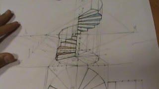 Escalera de caracol con pasamanos en perspectiva cónica