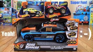 getlinkyoutube.com-Toy Cars for Kids: Hot Wheels Pedal Mashers and Road Rippers Comeback Racers Unboxing