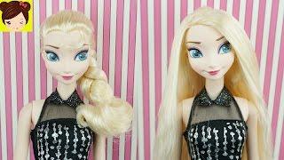 getlinkyoutube.com-Rapunzel Le Alisa el  Cabello a Elsa en el Salon de Belleza - Como alisar cabello de muñecas