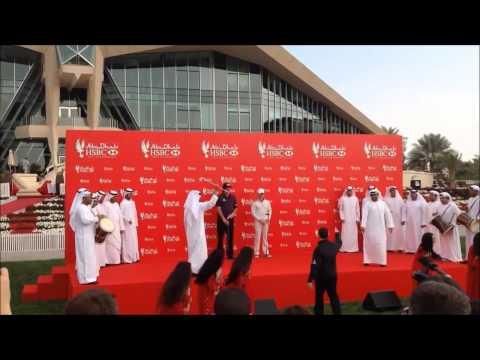 Rory Mcilroy and Phil Mickelson Al Razfa dancing at the 2014 Abu Dhabi HSBC Golf Championship