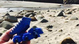 getlinkyoutube.com-DinoTrux Toys Sand Playtime at Pfeiffer Beach, Big Sur, California - Kids Travel Family Vlog Trip