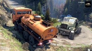 getlinkyoutube.com-SPINTIRES 2014 - The Hill Map - Kamaz Fuel Cistern Trying to Tow Up Hill a Kraz 255 Truck