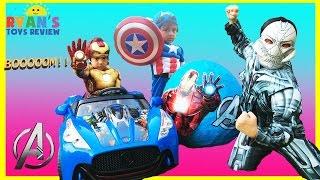 GIANT EGG SURPRISE OPENING AVENGERS Disney Marvel SuperHeroes Toys Iron Man vs Ultron Power Wheels