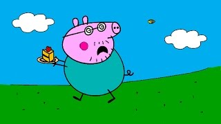 getlinkyoutube.com-Peppa Pig Coloring Pages for Kids - Peppa Pig Coloring Games - Daddy Pig Running Away Coloring Book