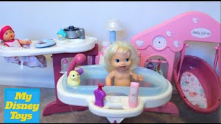 getlinkyoutube.com-Baby Doll Nursery Care Real toy set playing kids fun play toys review by My Disney Toys