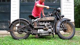 getlinkyoutube.com-1928 Henderson Deluxe Antique Motorcycle Running