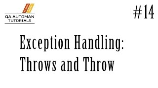 getlinkyoutube.com-TestNG & Java | Exception Handling: Throw and Throws | #14