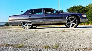 "1996 Cadillac Fleetwood on 26"" IROCs ,sounds , etc.. TUCKed!!"