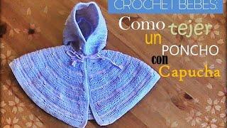 getlinkyoutube.com-Como tejer a crochet un poncho con capucha para bebe(diestro)