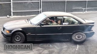 HOONIGAN-DT-035-We-Add-a-Muffler-and-Lose-a-Wheel-on-our-350-BMW-E36 width=