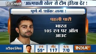 India vs Aus, 1st Test Day-2: Virat Kohli Out on Duck, Team India Collapses on 105 Runs All Out