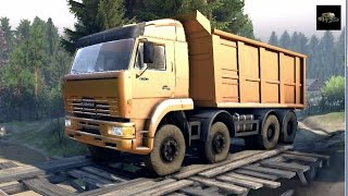 SPINTIRES 2014 - The Hill Map - KAMAZ 65201 8x4 Dump Truck Transporting Rocks