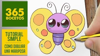 COMO DIBUJAR UNA MARIPOSA KAWAII PASO A PASO - Dibujos kawaii faciles - How to draw a butterfly