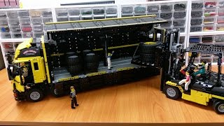 getlinkyoutube.com-LEGO Technic Yellow version Wing Body Truck & Custom Forklift Mk II