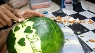 getlinkyoutube.com-Nyoman Putra (Watermelon Carving Logo Marry)